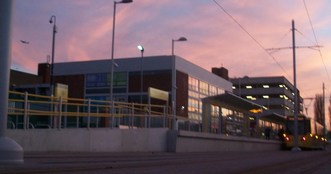 Tram towards Airport Wythenshawe Town Centre