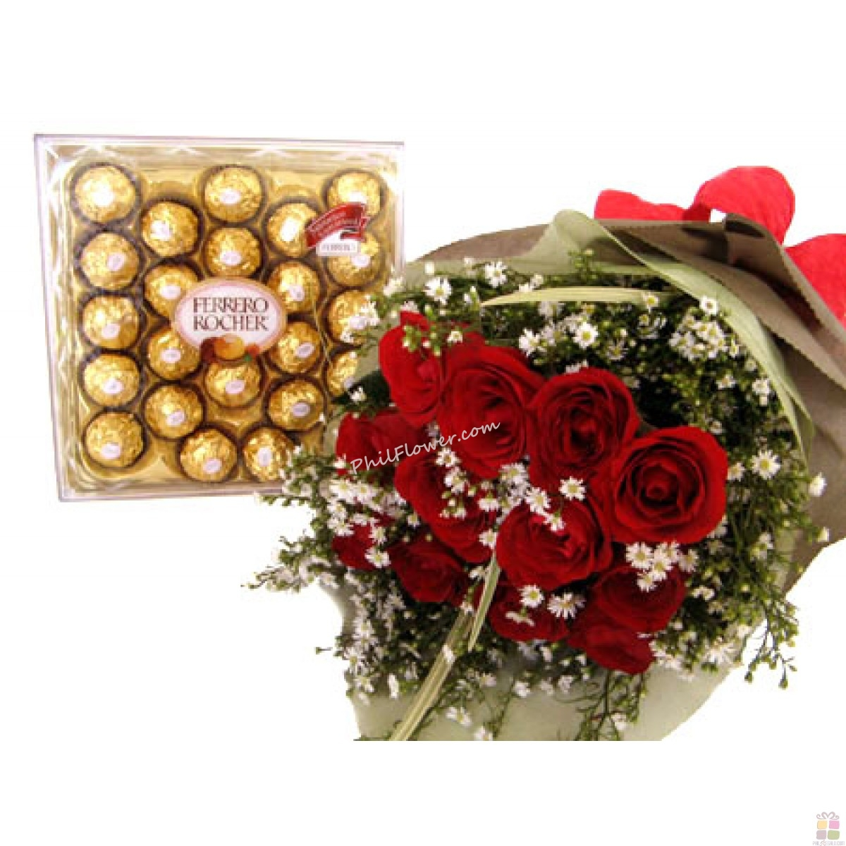 12 Red Roses With Ferrero Rocher Chocolate Delivery To
