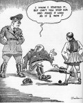 Cartoon showing Mussolini asking Hitler for help in the war with Greece