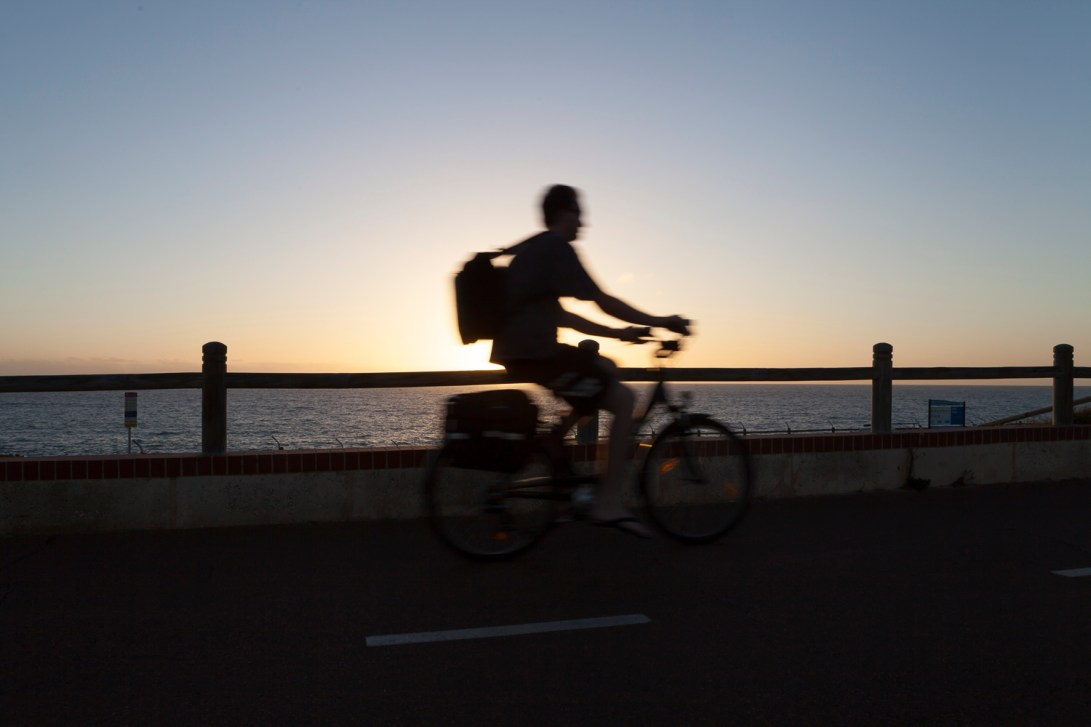 Raised cycle lane at Trigg over looking the beach. Perth, Western Australia