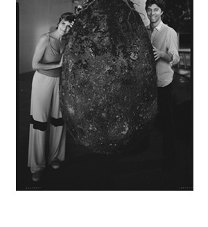 Anna Citelli and Raoul Bretzel with one of the burial capsules.