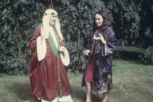 Olivia with Ross Nichols (Nuinn) in fancy dress, Clonegal/Huntington Castle c.1970