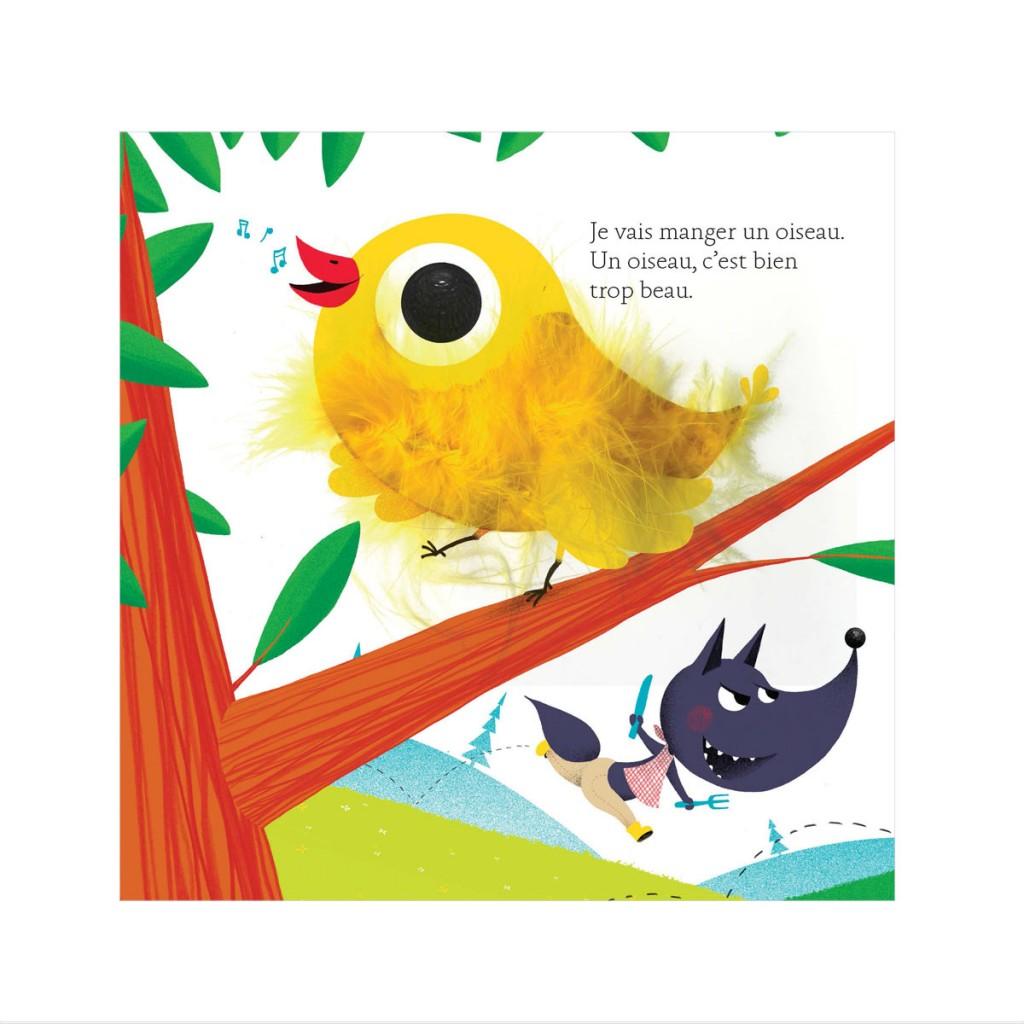 Oiseau dans livre à toucher Si le loup revenait