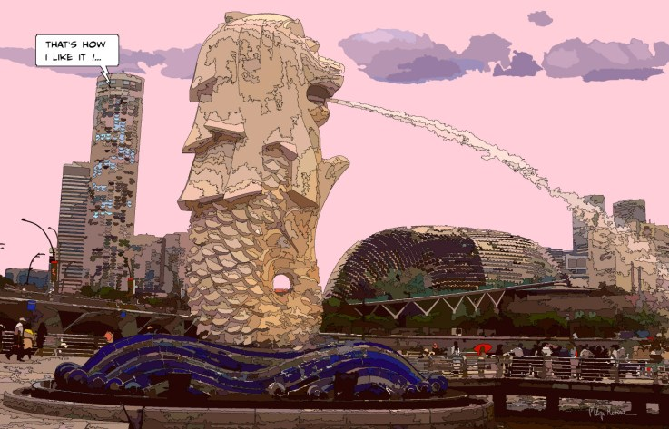 Singapore Merlion -- Medium 100x70 259€ // Large 140x90 429€ // XLarge 130x200 799€