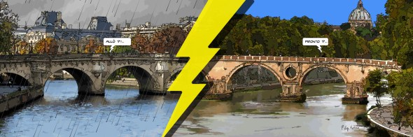 Roma/Parigi ponti -- Medium 120x40 259€ // Large 180x60 429€