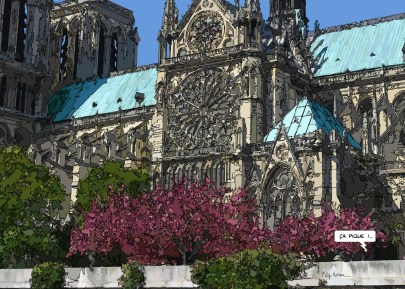 """Notre Dame """"ça pique"""" -- Medium 100x70 259€ // Large 140x100 459€"""