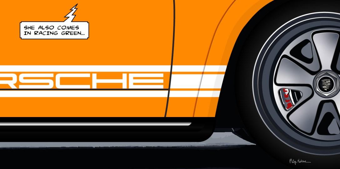 Porsche 911 Orange // détail -- Medium 100x50 229€ // Large 160x80 479€ // XLarge 180x90 579€