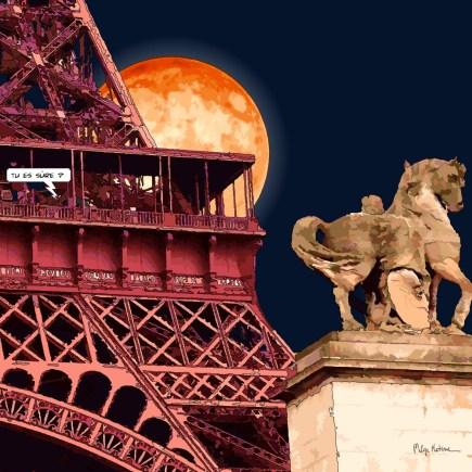 Paris / Eiffel Supermoon -- Medium 80x80 239€ // Large 100x100 299€ // XLarge 120x120 449€