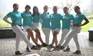 Members of the Manila-Southwoods team that won the 11th Philippine Airlines Ladies Interclub golf team championships flash the No. 1 sign. From left: Pauline del Rosario, Sofia Chabon, Bernice Olivarez, Serafina Kim, Claire Ong, Lora Roberto and Mikhaela Fortuna.