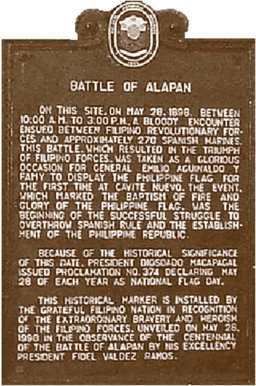Image result for battle of alapan historical marker
