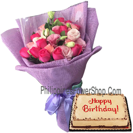 Soft Amp Hot Pink Rose Bouquet With Mocha Birthday Cake To