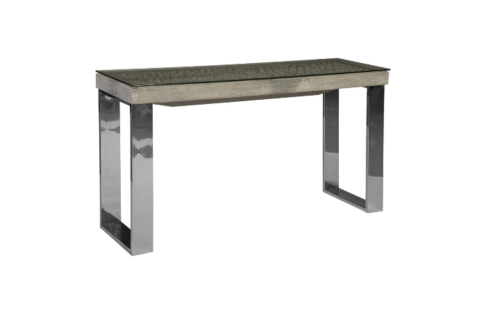 driftwood console table wood glass stainless steel base scaff finish