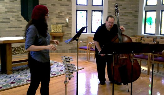 Sharon Harms & Phillip Serna play Mario Lavista's Salmo 150 for Soprano, Crotales and Double-Bass at the University of Notre Dame for Chicago's International Latino Cultural Center's 9th Latino Music Festival