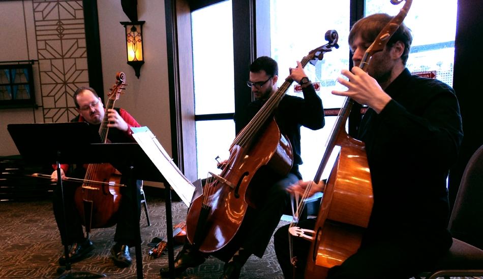Phillip Serna, Jeremy Beyer & Eric Miller performing at the Chicago Bass Festival, Bennett Gordon Hall, Ravinia, Highland Park, IL