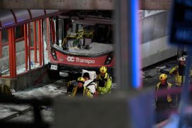 Image result for Bus crashes into shelter in Ottawa, kills three, 23 injured