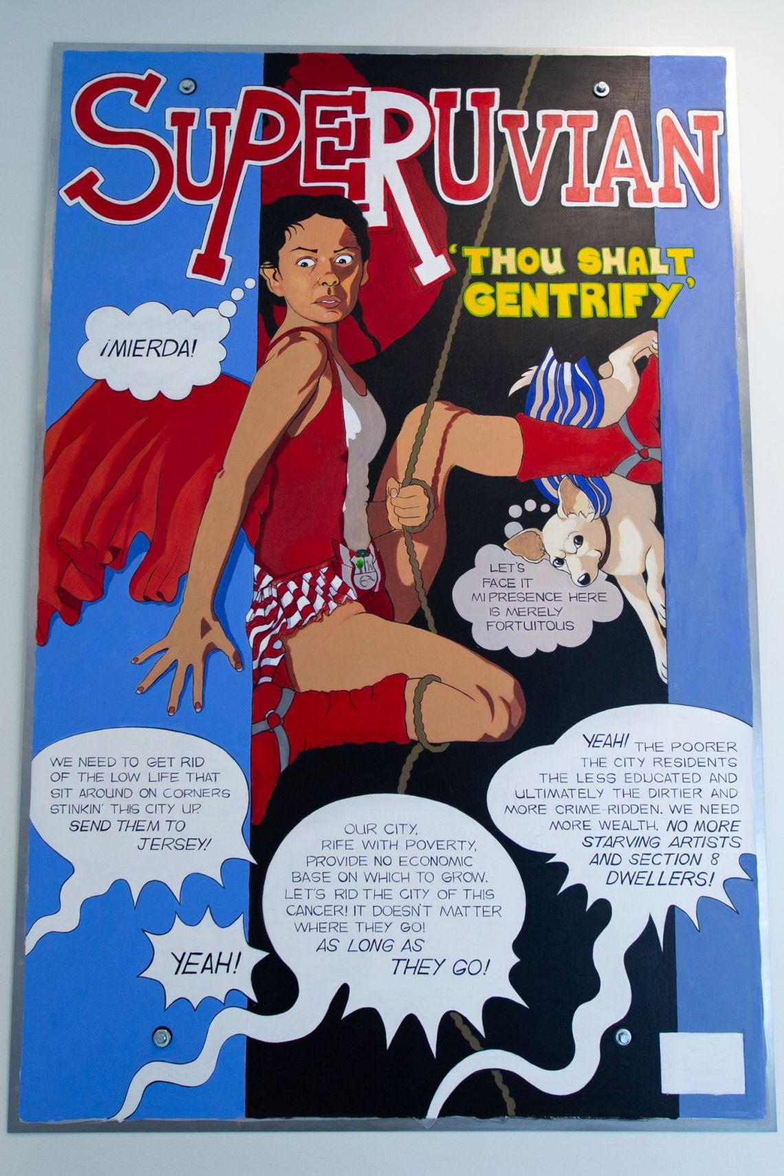 An anti-gentrification painting by Kukuli Velarde on display at Taller Puertorriqueño.