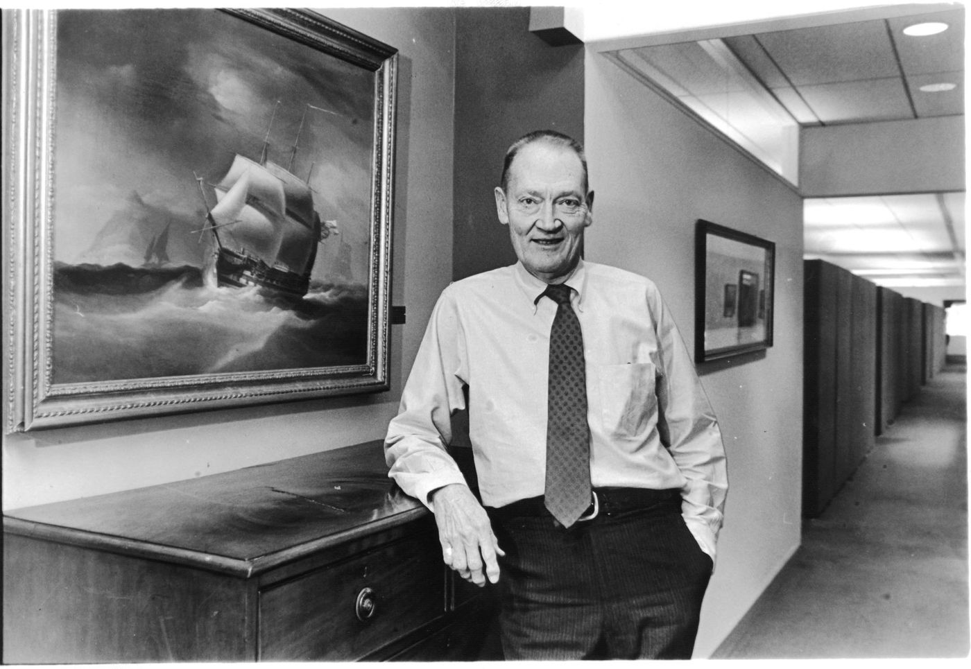 John Bogle, Vanguard chief inside the corporate office in Chesterbrook in 1989.