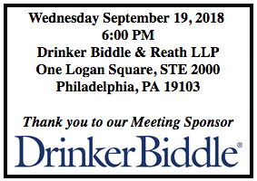 Thank you to our Meeting Sponsor DrinkerBiddle