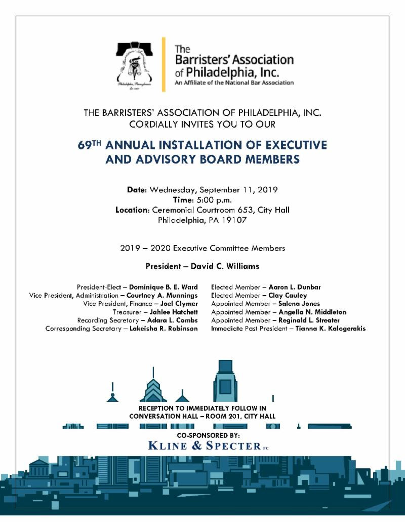 69th Annual Installation Ceremony - Welcoming the Barristers' Executive and Advisory Boards