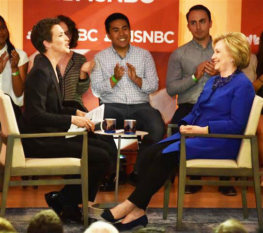 MSNBC's Rachel Maddow moderated an hour-long town hall with Hillary Clinton after a day filled with campaign stops in Philadelphia. The town hall was scheduled to begin taping at 5:30pm, but started at nearly 6PM as Clinton was running a little late.