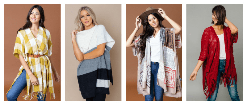 Winter ponchos at Cents of Style