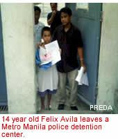 14 year old Felix Avila leaves a Metro Manila police detention center.