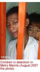 Children in detention in Metro Manila (August 2007 file photo)