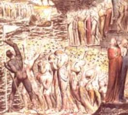 Le vestibule de l'enfer, les âmes se réunissent pour franchir L'Achéron