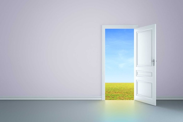 Open door in a white room, looking out on a field on a beautiful day.