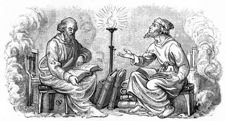 Print of 'Discourse into the Night,' of two men sitting in a discussion.