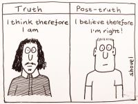 "Cartoon featuring Descartes under the word ""Truth,"" who says ""I think therefore I am."" On the right, there's a guy under the heading ""Post-Truth."" The man says ""I believe therefore I am right."""