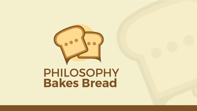 Logo for Philosophy Bakes Bread, which includes the name of the show written over top of a loaf of bread.