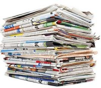 A stack of newspapers.
