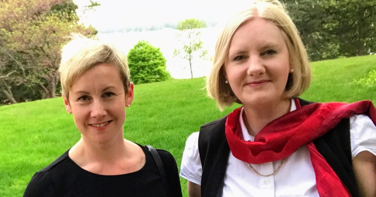 Photo of Drs. Naomi Hodgson (left) and Amanda Fulford (right) at the 2017 Public Philosophy Journal's Collaborative Writing Workshop.