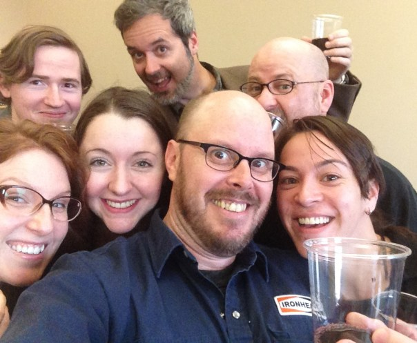 The cast and I celebrating the first runthrough of the play with a little wine.