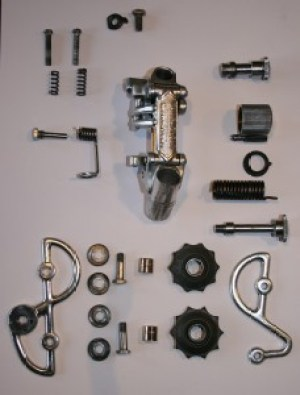Disassembled and cleaned Campagnolo derailleur