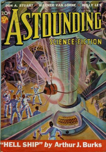 Astounding Science Fiction, August 1938.  Cover art by H. Wesso.