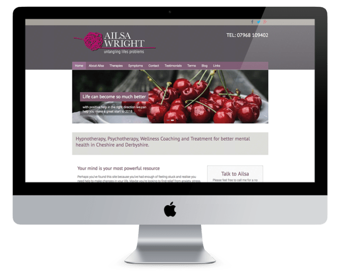 East Cheshire Hypnotherapy Website Design