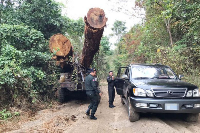 Military police officials bust one of eight trucks carrying illegal timber to Vietnam in March. Photo supplied