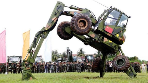 A new military vehicle is taken through its paces during the first Chinese-Cambodian Golden Dragon military exercises in 2016. Hun Sen yesterday announced a new shipment of military material to coincide with this year's exercises.