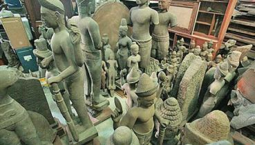 Pictured are some of the sculptures and artefacts retrieved from the network of suspects linked to former Central Investigation Bureau chief Pongpat Chayapan