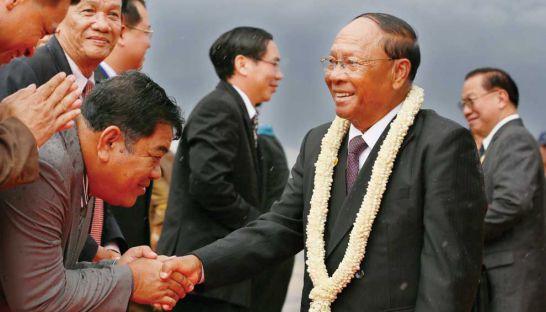 National Assembly President Heng Samrin arrives in Phnom Penh