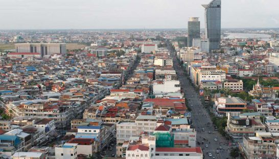 A view towards the city's north from the roof of the Phnom Penh Tower