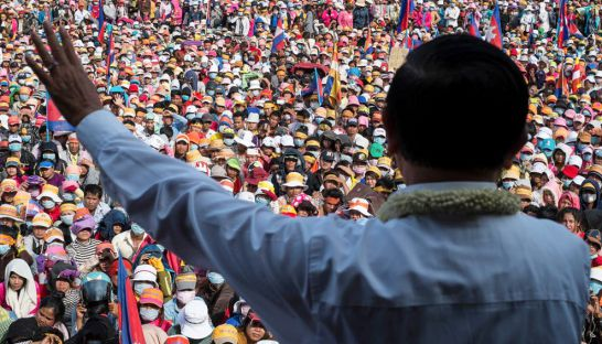 Kem Sokha addresses a mass of garment workers at Phnom Penh's Freedom Park during a political rally in 2013.
