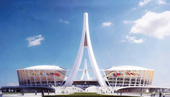 An artist's impression of how the main stadium of the new national sports complex will look upon completion.
