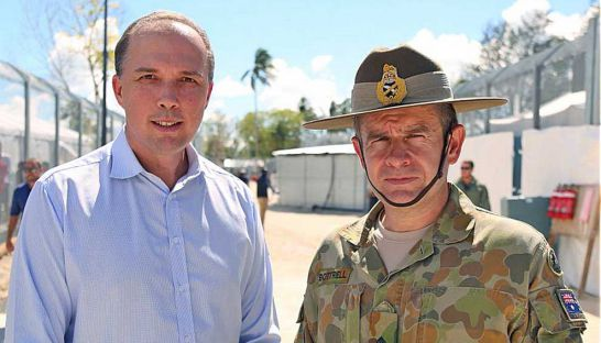 Australian Minister for Immigration and Border Protection Peter Dutton (left) and Major General Andrew Bottrell.