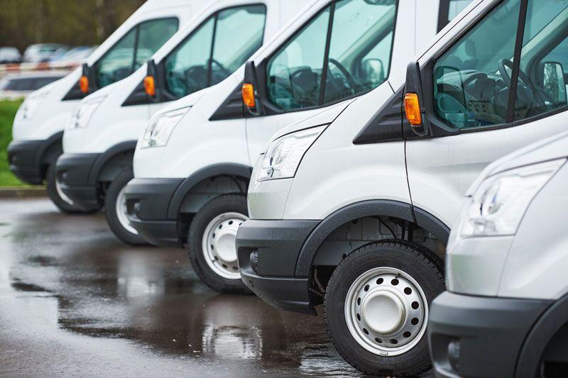 row of commercial vans
