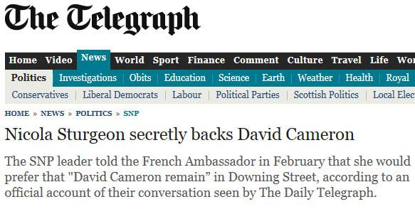 Torygraph Frenchgate Headline