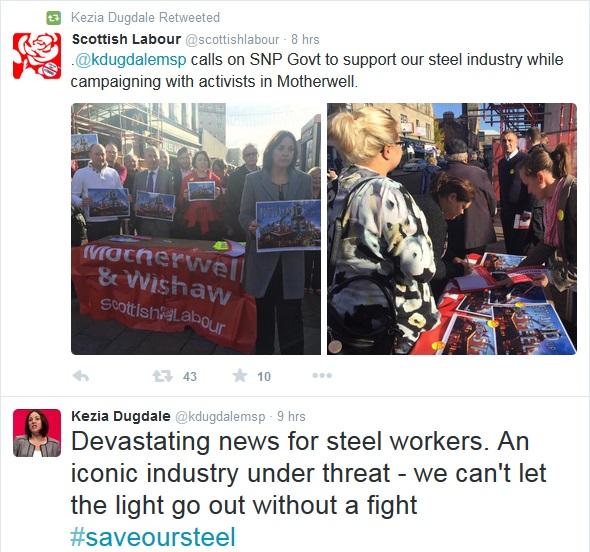 Kezia Dugdale steel tweet