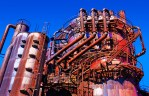 Fantasy – repetition of rusty Seattle gas works towers tanks and pipes